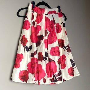 Shiny floral full pleated midi skirt